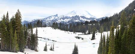 mount rainier: Panoramic view of Mount Rainier with snow cover
