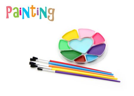 suffusion: Water paints and paint brushes Stock Photo