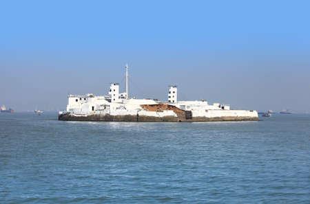 Small island in Arabian sea Stock Photo