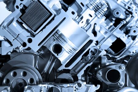 horse pipes: Cut section showing details of automotive engine Stock Photo