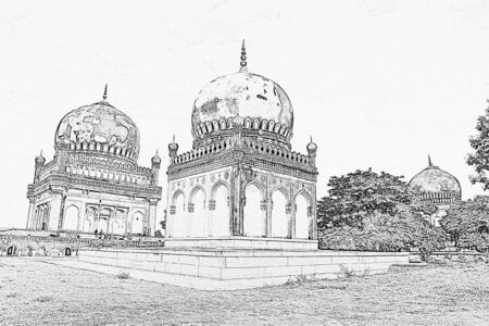 Pencil sketch effect of ancient Qutbshahi tombs