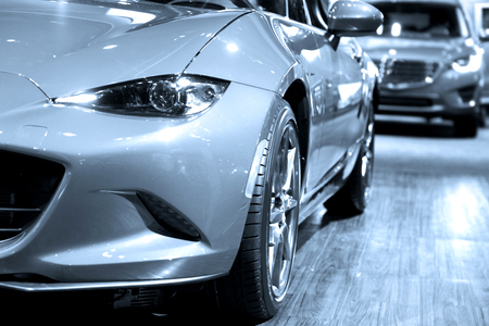 Sports cars in display at mall