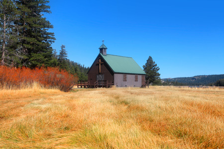 small town: Small chapel in prairies of California