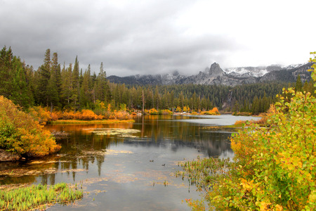mammoth lakes: Lake Mamie landscape on a rainy day in California near Mammoth lakes Stock Photo