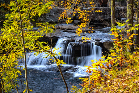 old grist mill: Water falls near Glade creek grist mill in West Virginia