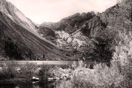Monochrome landscape of Convict lake in Sierra Nevada mountains