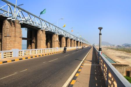 Prakasam Barrage over river Krishna near Vijayawada, India