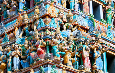nandi: Bangalore, India - December 13, 2015:Detail of the Shiva temple gopuram in Bangalore exterior view a typical south Indian temple architecture.