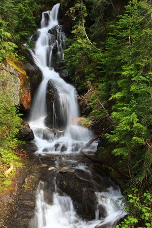 Water falls from Glaciers in Mount Rainier national park