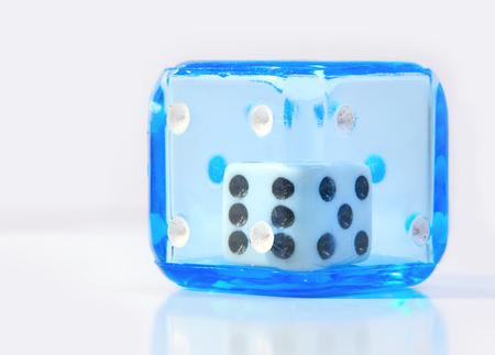Blue dice on white background Stok Fotoğraf