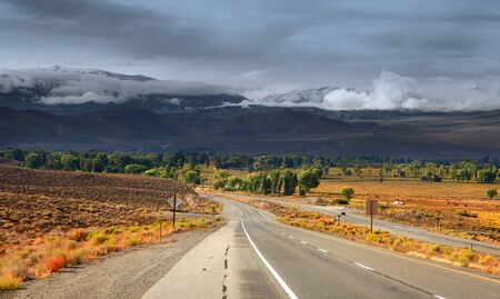 sierras: Scenic road in Sierra Nevada mountains Stock Photo