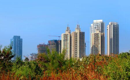 Tall residential buildings in Mumbai, India