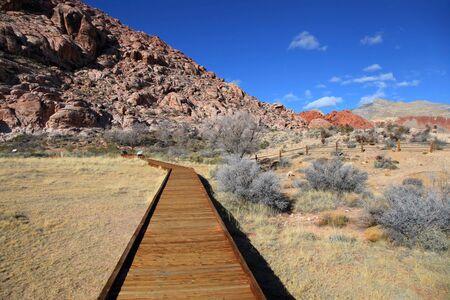 Board walk at red rock canyon,Nevada Stock Photo
