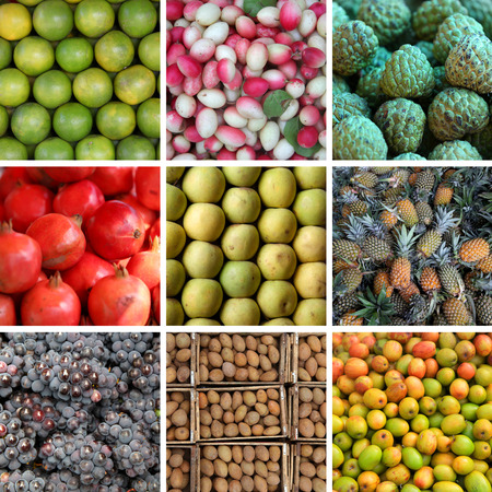 Different types of fruits collage Stok Fotoğraf