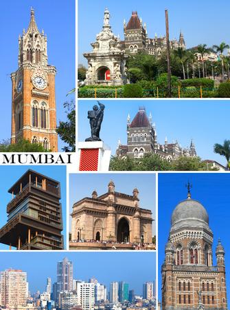 maharashtra: Group of Historic buildings in Mumbai city collage