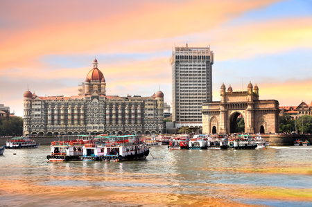 Mumbai, INDIA - December 6 : Gateway of India was built by British raj in 1924,The structure is basalt arch, on December 6,2015 Mumbai, India Editorial