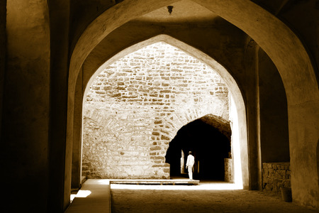 Arches of Historic Golconda fort in Hyderabad, India