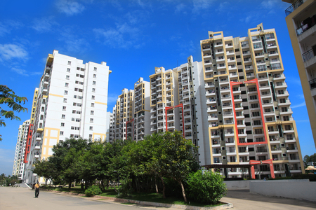 karnataka: Bangalore, Karnataka, India - December 13, 2015: Colorful apartment homes in Bangalore city ,Residential home sales in Bangalore are at study growth of 9-10% over last 2 years. Editorial