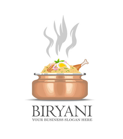 An illustration of famous indian dish Biryani icon Çizim