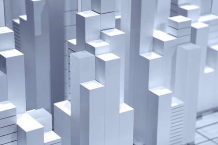 Tall blocks city representation carved out of wood