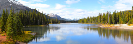landscape: Panoramic view of Porcupine creek in Banff national park