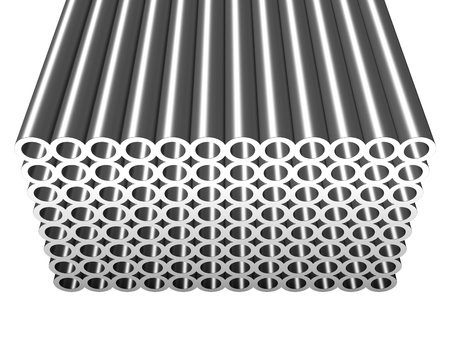 3d illustration of metal tubes in stack Stock Photo