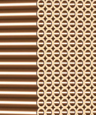 3d illustration of copper metal tubes in stack Reklamní fotografie