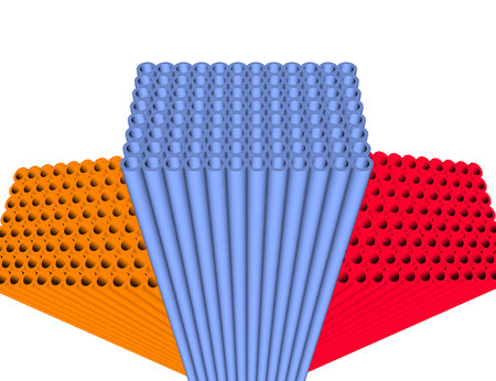 3d illustration of three different color tubes arranged