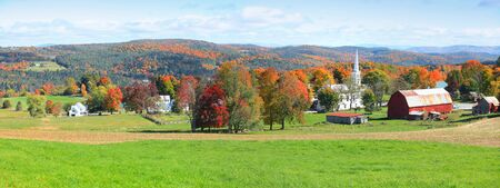 Panoramic view of rural Vermont in autumn time. Banco de Imagens