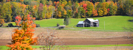 Panoramic view of rural Vermont in autumn time. Stock Photo