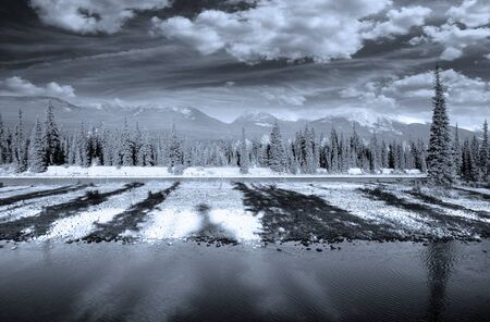 Scenic landscape of Banff national park in monochrome