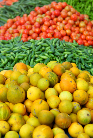 Different vegetables in the market up for sale Stock Photo