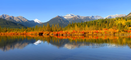 Panoramic view of Vermilion lakes scenic area  in Banff national park
