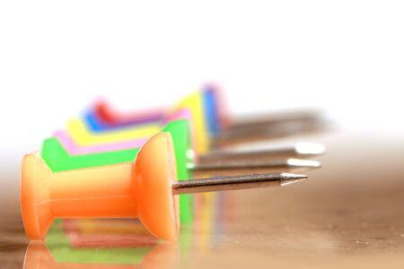 Extreme close up shot of push pins