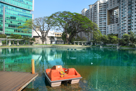 Small artificial pond in Bangalore city Stock Photo