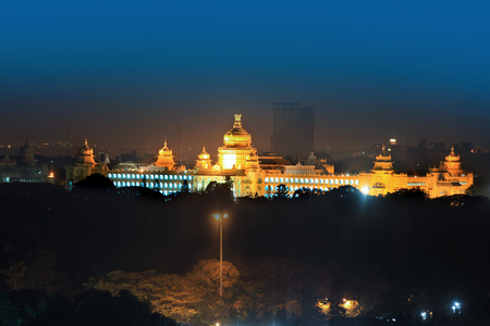 Bangalore legislative assembly in night time Editorial
