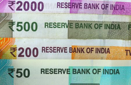 Different Indian rupee bills in the stack Stok Fotoğraf
