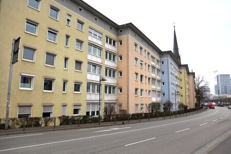 Colorful apartment homes in Frankfurt, Germany Stock Photo