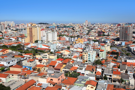 Aerial view of Sau Paulo cityscape in Brazil