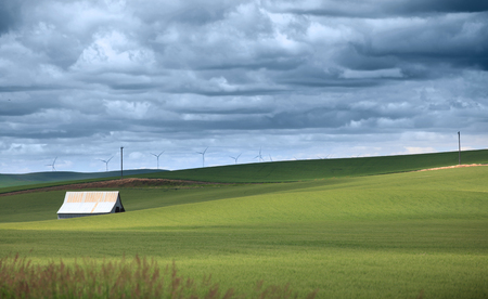 Farm landscape in Palouse, Washington with dark clouds