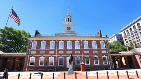 Historic Independence hall in Philadelphia downtown Editorial