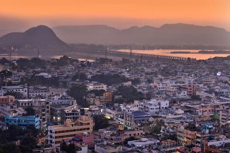 Vijayawada, INDIA - December 28 2015 : Aerial view of city in twilight, at Vijayawada, India