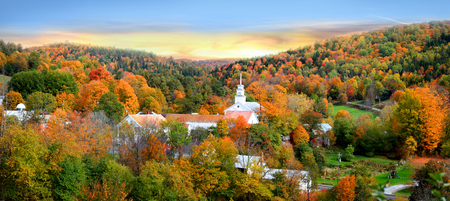 Panoramic view of Topsham village in Vermont