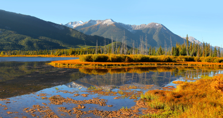 Panoramic view of Vermilion lakes landscape in Banff national park