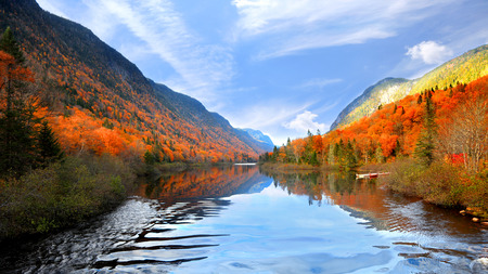 Autumn landscape in Parc de la national  Jacques Cartier Stock Photo
