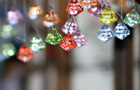 Colorful decorative ornaments close up shot