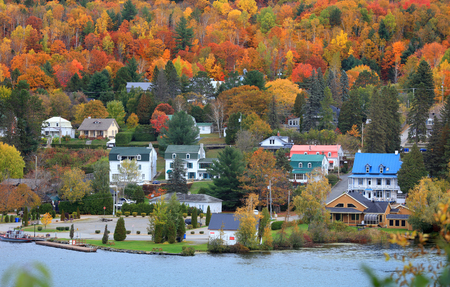 Grandes Piles town ,Quebec, Canada 스톡 콘텐츠