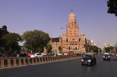 Mumbai, INDIA - December 6 : Historic Mumbai city corporation building in Mumbai India, on December 6,2015 Mumbai, India
