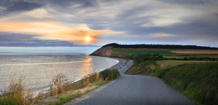 Panoramic view of sunset over pacific coast is washington state