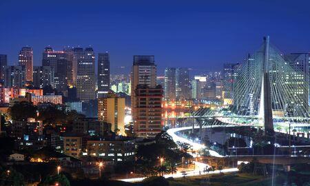 Estaiada Bridge, major landmark in Sao Paulo,Brazil.On May 03, 2015 Sao Paulo, Brazil. Reklamní fotografie